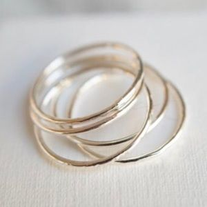 5 skinny silver stacking rings